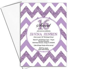 Sweet 16 invitations purple | teen birthday invite chevron | printable or printed - WLP00359