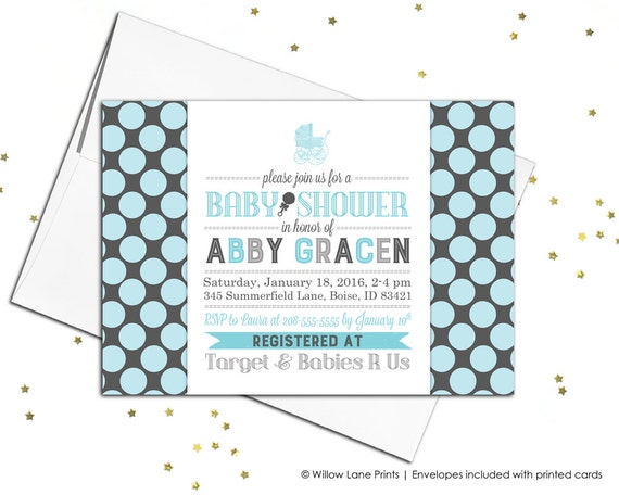 baby shower invitations for baby boy in blue and gray polkadots - printable invitation - baby shower invites - baby boy shower invite (729)