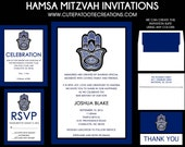 Hamsa Hands Bar Mitzvah Invitation - Judaica Religious Bar Mitzvah Invitations - Guest - Return Addressing - RSVP - Info - Celebration Card