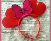 Valentine Heart Mouse Ears Headband by Twincess Bowtique - CUSTOM
