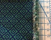 "Medium Weight Decocator fabric Green and Blue Brocade 2 1/3 Yards X 54"" Wide #3751"
