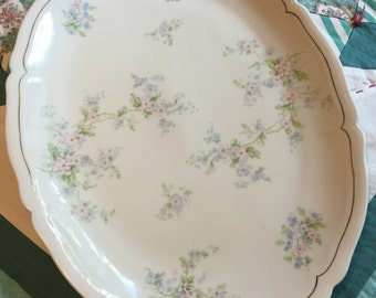 Vintage Large Serving Platter Pink and Blue Floral Made In Vienna Austria #3992