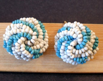 Vintage Blue and White Seed Bead Screw On Button Earrings