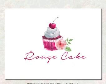 Premade Business Logo  and Watermark - Boutique Logo Design  - Web Logo - Hand Drawn Logo - Cake Logo - Watercolor Cupcake - Watercolor Rose
