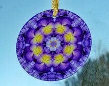 Pansy Suncatcher Boho Chic Mandala Sacred Geometry New Age Hippie Kaleidoscope Purple Prose