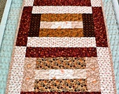 """Quilted Patchwork Tablerunner / Table Topper / Tablecloth - Brown, Gold, Tan and Earthtone Colors - 14-1/2"""" x 30"""""""