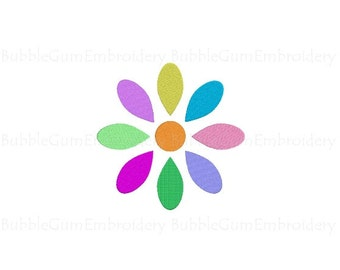 Pastel Multicolored Daisy Embroidery Design Instant Download
