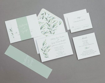 Modern Calligraphy Greenery Wedding Invitation Set Printable Template ,Modern Greenery Wedding Invitation digital download, Greenery Wedding