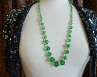 Vintage Long Green Nuggets of Glass Beads Necklace French Hand Beaded 1930 Pre War