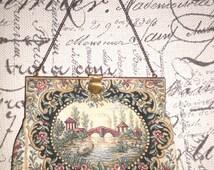 Vintage French purse,Tapestry bag,Pastoral scene,Made in France