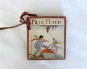 Vintage miniature book- antique childrens Blue Peter story Oxford string bound Photography Prop