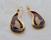 Laurel Burch Earrings, Flying Bird Earrings, Long Dangle Earrings, Gift for Her
