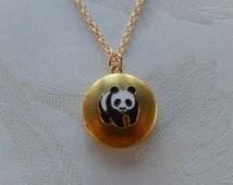 Panda Locket, Panda Jewelry, Locket Necklace, Gift for Her
