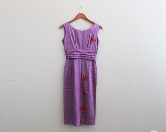 Vintage 1950's Purple sleeveless dress with stars