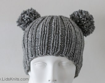 Two Pompom Soft Wool Beanie Hat in Gray