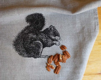 Linen Tea Towel, Squirrel Screen Print, Rustic Kitchen Dish Towel, Vintage Style Animal Print