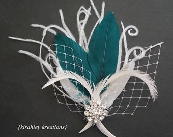 ELLETHWEN -- Modern Wedding Bridal Feather Fascinator Bride Headpiece Hair Clip White Ivory & Teal w/ Birdcage Veiling and Rhinestones