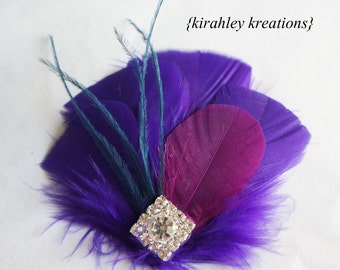 Fuchsia Purple Navy Feather Rhinestone Hair Clip Hairpiece Wedding Fascinator Bride Bridal Bridesmaid Prom EVANGELINE Custom Color Available