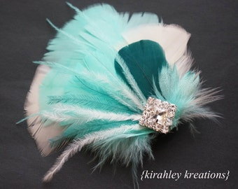 Mint Aqua Bridal Hair Clip Dark Teal Ivory Feather Hairpiece 20's Fascinator EVANGELINE Rhinestone Bride Bridesmaid Prom Colors Customizable