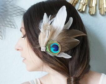 Bridal Duck Emu Feather Fascinator Rustic Peacock Wedding Bride Bridesmaid Prom Headpiece Hair Clip Ivory Brown Sapphire Blue Rhinestone