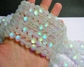 Mystic aura quartz - 10mm round - Holographic quartz - matte - 38 Beads - full strand - RFG893