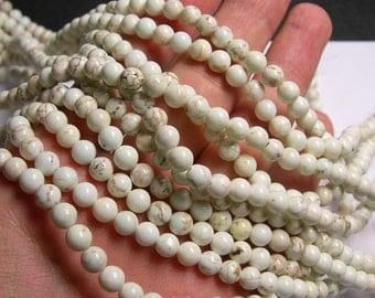 White Cream Howlite turquoise - 6 mm round beads -1 full strand - 65 beads - RFG701