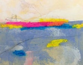 Colorful small mixed media painting - Bright Horizon 1 6 x 6