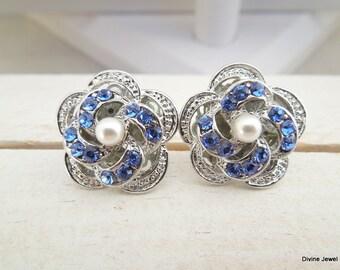Bridal Earrings Stud Earrings Bridal Rhinestone Earrings Rhinestone Earrings Swarovski pearl Earrings Something Blue stud Earrings ROSELANI