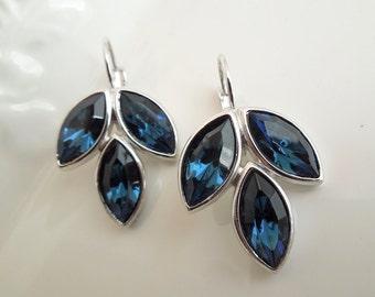 Something Blue Bridal Earrings swarovski crystal Rhinestone Stud Earrings Statement Bridal Earrings Wedding Rhinestone Earrings NELLIE