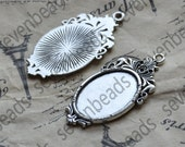 10 pcs Antique silver oval Cabochon pendant tray (Cabochon size 18x25mm),bezel charm findings,cabochon blank findings