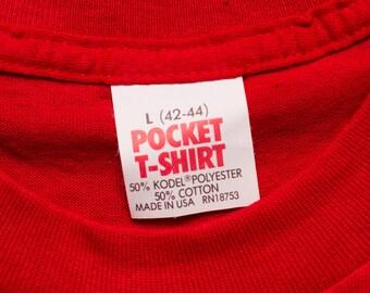 "Red ""Pocket T-Shirt"" Brand Tee, Blank 50/50, Rockabilly, Vintage 80s"