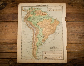"1871 South America Map, 12"" x 9.5"", Antique Illustrated Book Page, 1800s"