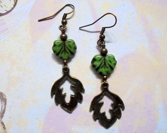 Green and Brass Leaf Earrings (2948)