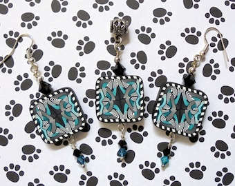 Black, White and Teal Pendant and Earrings (0592)