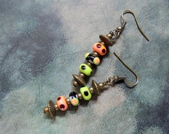 Peach, Lime and Black Spotted Earrings (2353)
