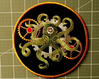Steampunk Octopus Iron on Patch-  5.83""