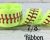 "5yds-7/8"" Printed Foil Ribbon- Sports Ribbon, Printed Ribbon, Softball Ribbon, Sparkly Holographic Foil Ribbon, Softball Stitching"