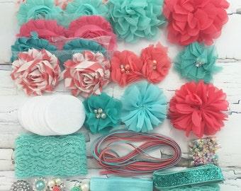DIY-Headband Kit 14 Headbands/Clips- Make Your Own Headbands- AQUA/CORAL
