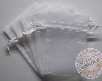 10 WHITE 3x4 Sheer Organza Bags - Party favors, jewelry, gifts, sachets and much, much more