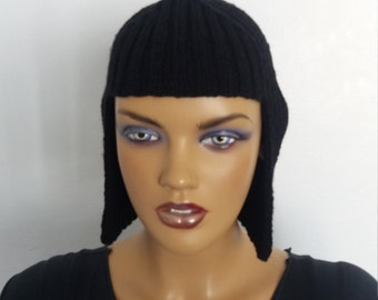 Black Knit Wig Hat Hair For Halloween Accessory-Halloween Costume Ideas-night costumes