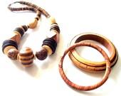 Beautiful Vintage Costume Jewelry Wood Bead Necklace Carved Cork Bangle Bracelets 3pcs