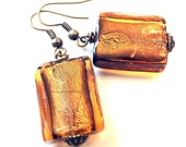Handcrafted Costume Jewelry Brown Topaz Dichoric Glass Square Bead Earrings