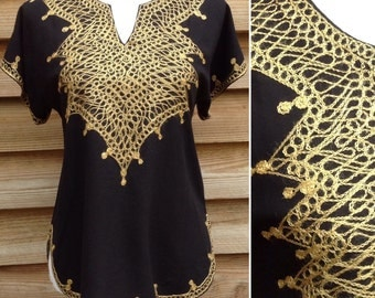 Moroccan VTG 1970s black cotton embroidered gold blouse