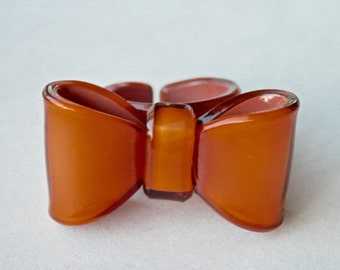 Vintage Ring, Vintage French Jewelry, Bow Ring, Caramel Lucite,  Size 8, Paris France, Statement Ring,