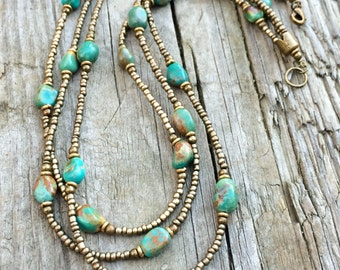 Multi strand necklace, turquoise necklace, boho chic, boho jewelry, turquoise jewelry, beaded necklace, statement necklace, copper jewelry