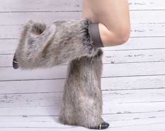 Faux Fur Grey Wolf Boot Covers- Fluffies