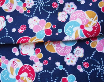 Japanese Fabric - Navy Blue - Flowers