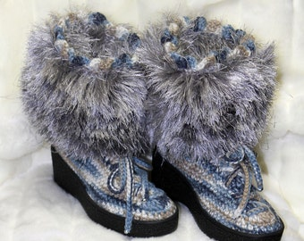 fashion boots - winter boots - variegated blue tan silver boots - women shoes - women boots - hand crocheted boots - furry top boots