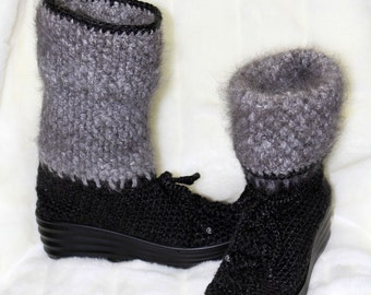 Angora boots - Beaded Angora boots - Winter boots - Women's Boots -hand corcheted boots - Gray Boots - Black Boots - Homespun Angora Boots