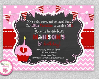 Girls 1st Valentine Birthday Invitation , Valentines Chalkboard Birthday Party Invitation Boys or Girls